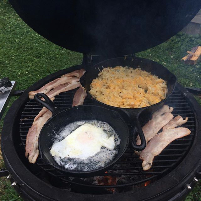 Bacon, Eggs, and Cheesy Hashbrowns Grilling on a Saffire
