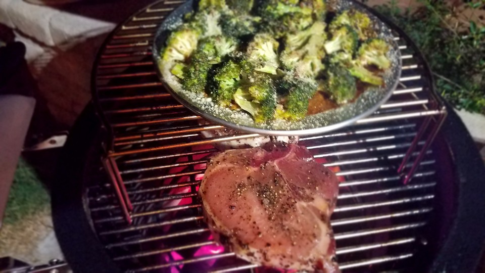 Grilling Steak and Cooking Broccoli