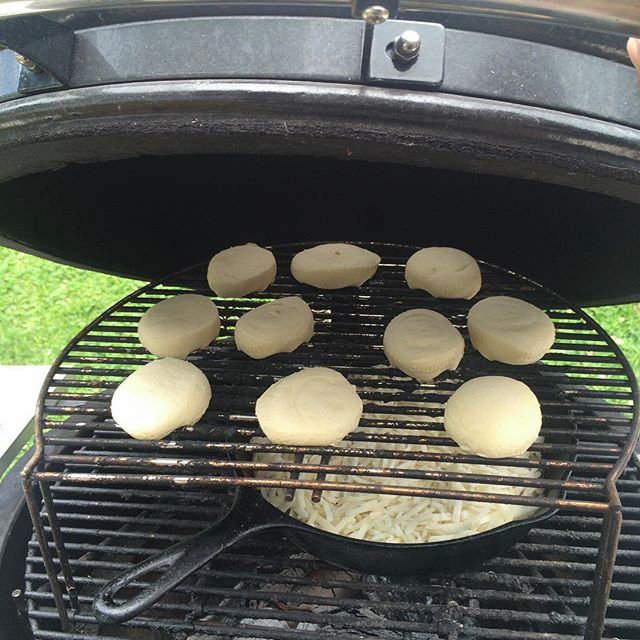 Hash Browns and Biscuits on a Kamado Grill