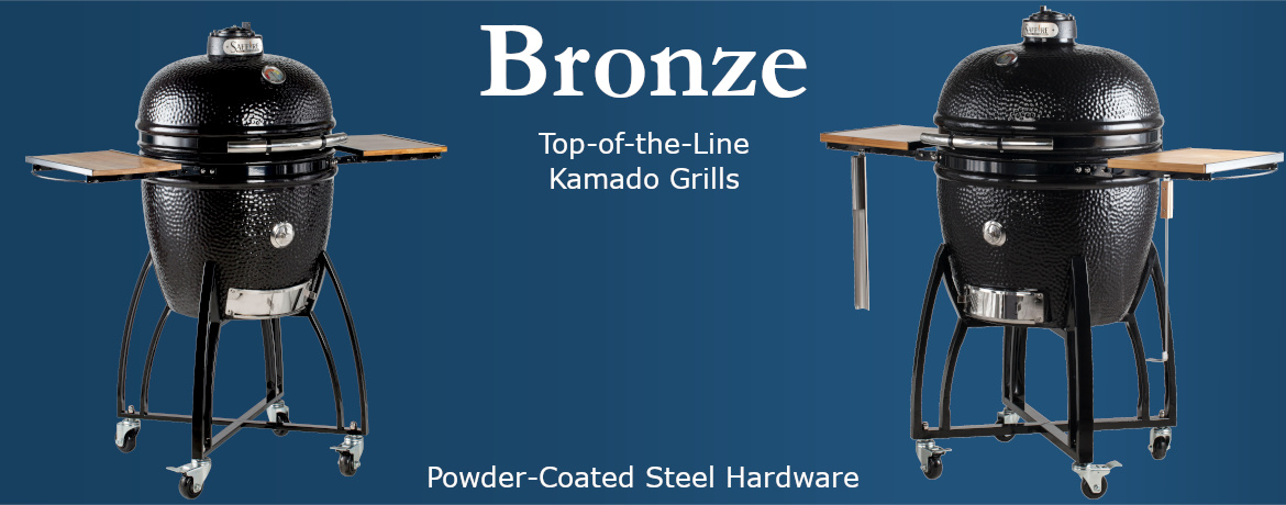 Bronze category -- top-of-the-line kamado grills; powder-coated steel hardware