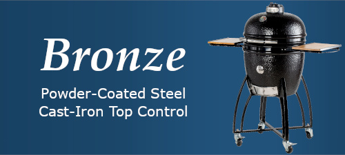 Bronze category -- powder-coated steel; cast-iron top control