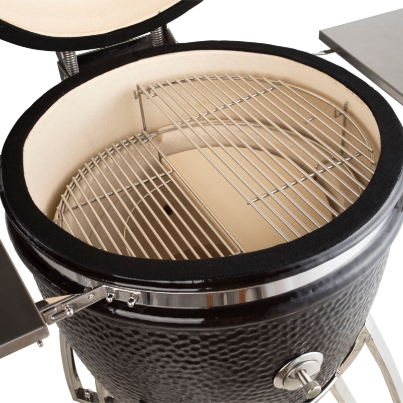 Saffire's patented multi-level cooking system, for grilling and smoking at the same time