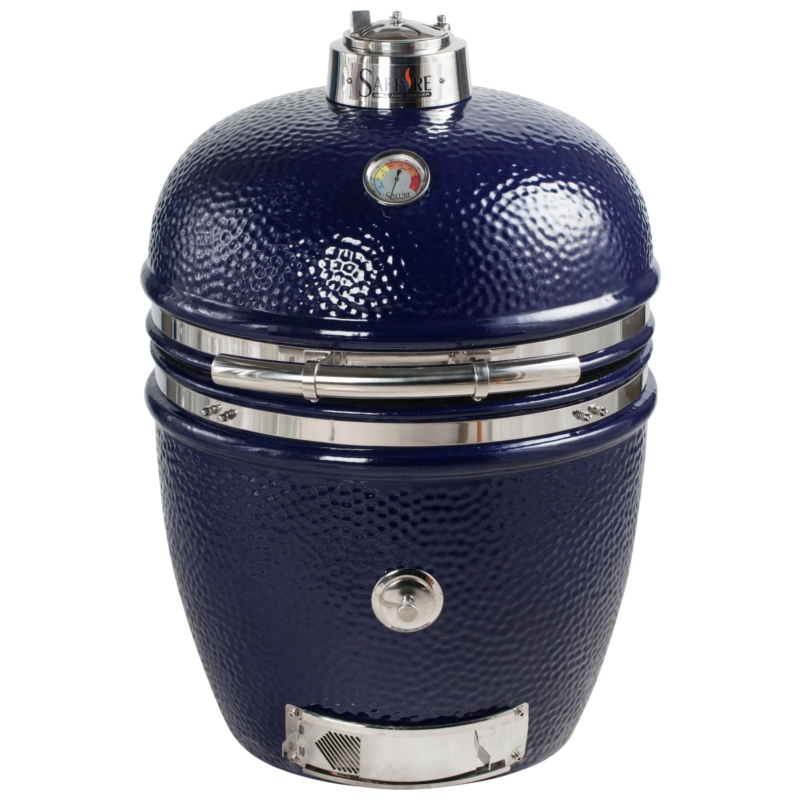 19 inch platinum kamado grill head -- sapphire blue
