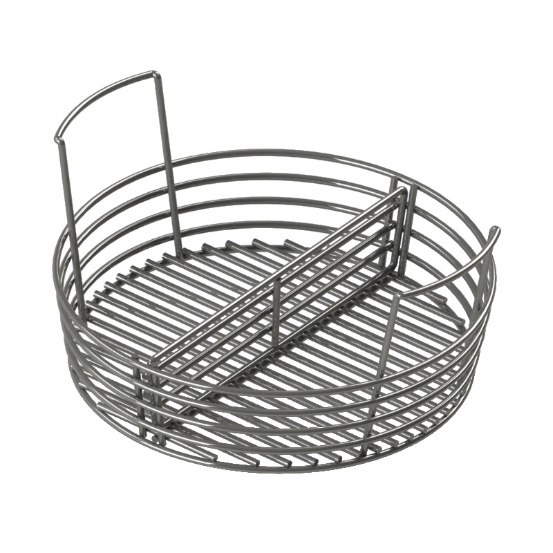 A charcoal basket for holding charcoal; allows you to easily drop the ash into the ash pan with a few shakes; comes with a removable divider
