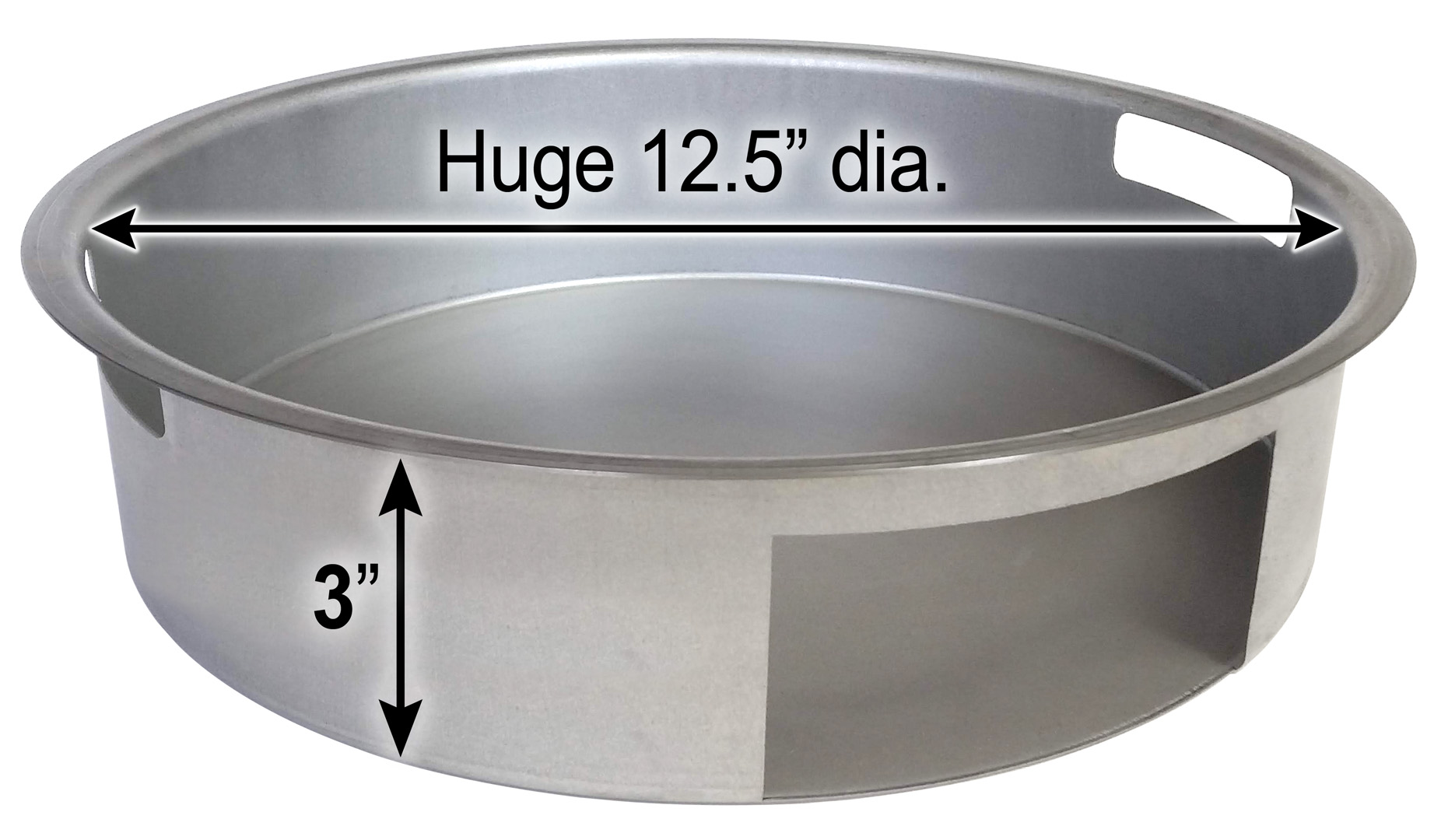 Saffire's lift-out ash pan has a huge 12.5 inch diameter and a 3 inch height