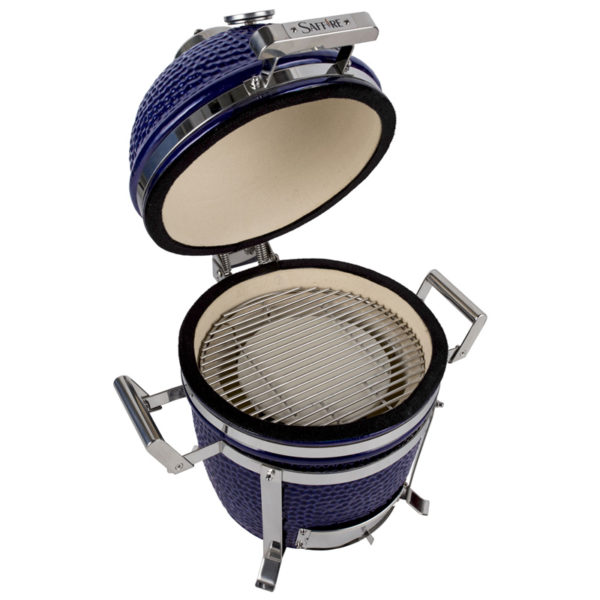 Saffire's 13 inch kamado has a 13 inch cooking diameter, and comes with a ceramic heat deflector