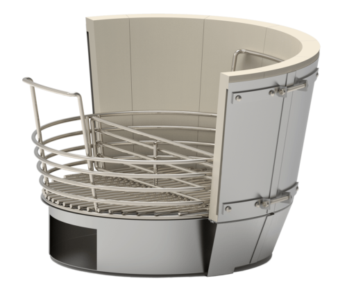 Saffire's patented Crucible Kamado Firebox is shown. The Crucible firebox comes with these features: aluminized steel housing a firebrick liner, insulating air gaps for efficiency. Also shown is a removable stainless steel charcoal basket (with removable divider) and a huge lift-out ash pan