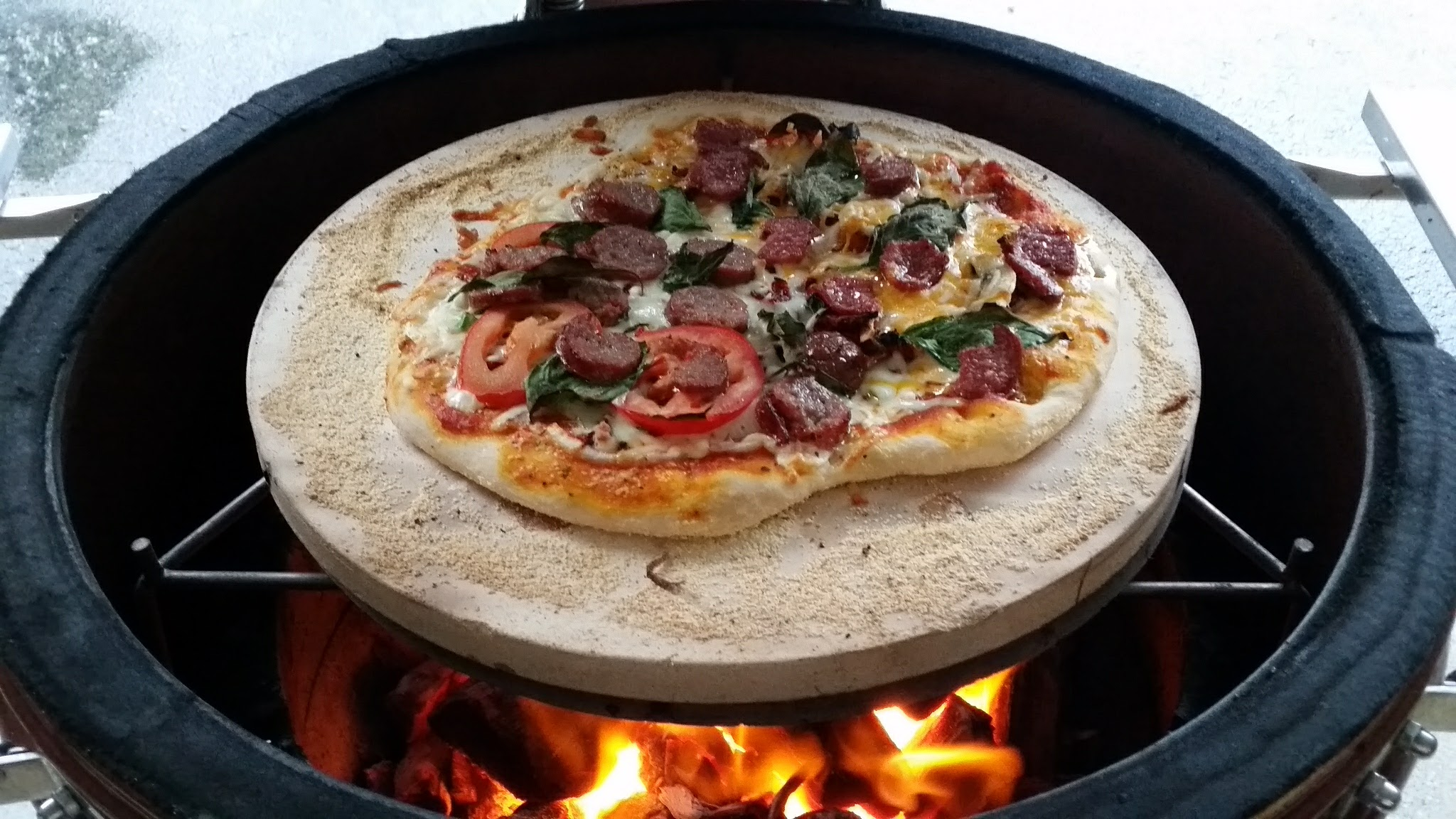 Homemade Sausage, Tomato, and Oregano Pizza, Cooking on a Kamado
