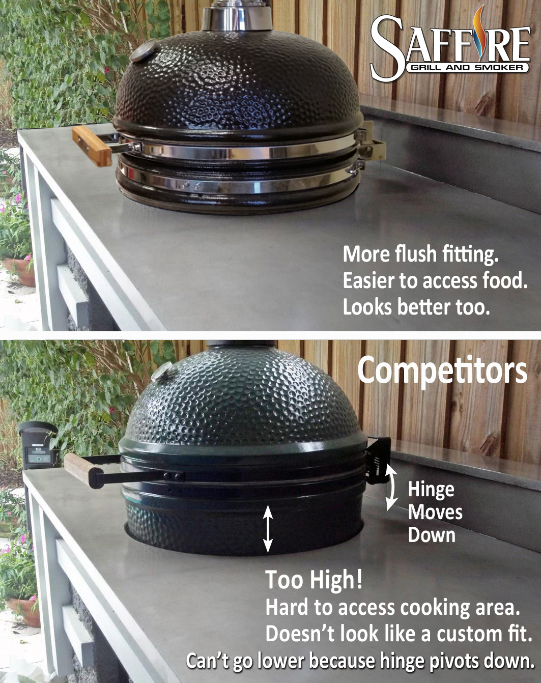 Saffire built-ins are more flush-fitting, easier to access the food, and look nicer. Big Green Egg built-ins are too high, hard to access the food inside, and don't look like they fit nicely with the BBQ counter or island.