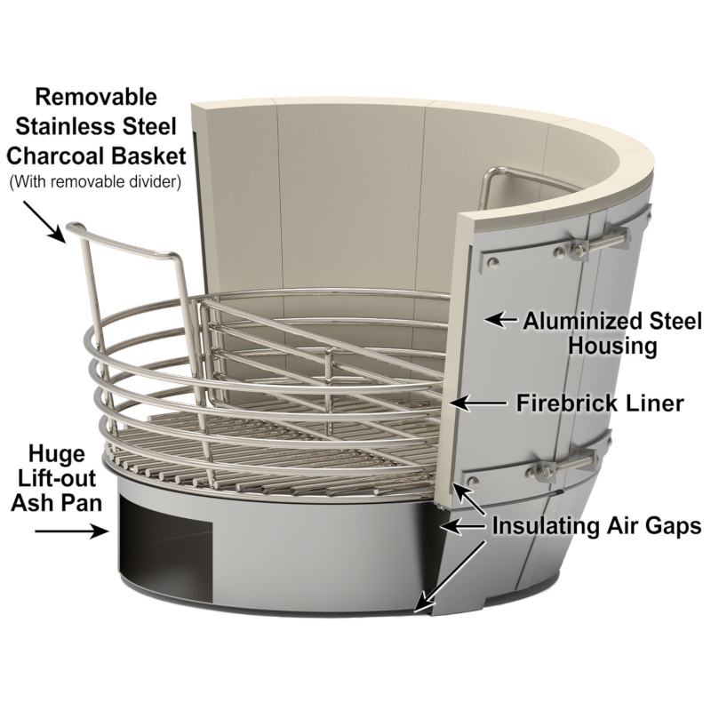 Saffire's bronze Crucible Kamado Firebox for use in kamado grills. Includes aluminized steel shell, lined inside using 2700 refractory firebrick. Also includes a firegrate for holding charcoal, and a gigantic ash area beneath. The Crucible is made more efficient with an insulating air gap between the shell and the firebricks. The best firebox for ultimate durability!