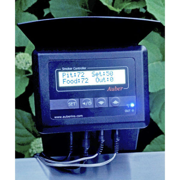 An Auber Instruments thermometer and temperature control unit is shown close up, with example pit and food temperatures and set temperature shown