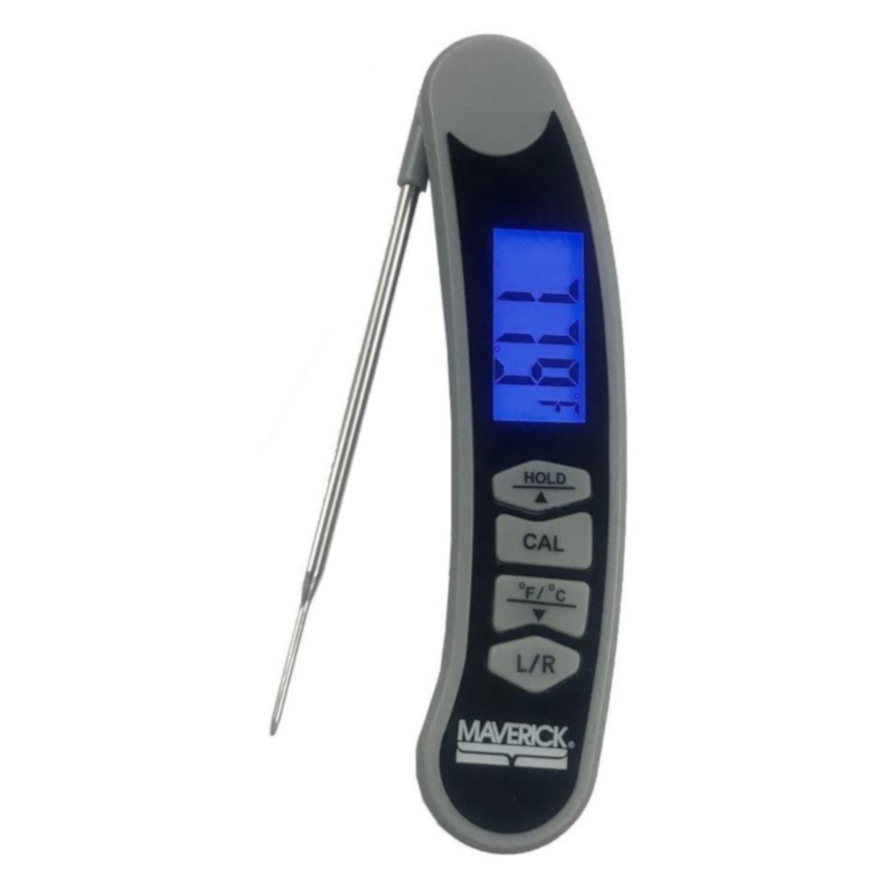 The Maverick ET-50 has a flip-out temperature probe, a display screen, a hold button for keeping the temperature on the screen, and a button to convert the temperature between fahrenheit and celsius