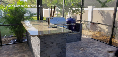 A Saffire built into an L counter in a screened-in porch.