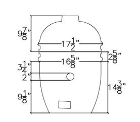 The base is 14 3/8 inches to the bottom of the lower band's lower bead. Of this, there is 9 1/8 inches from the bottom of the base to the smokin' chip feeder port, 2 inches taken up by the smokin' chip feeder port (which has a 2 inch diameter), and 3 1/4 inches from the top of the smokin' chip port to the lower bead on the bottom band of the grill. From the bottom of the lower band bead to the grill opening there is 2 5/8 inches. From the grill opening to the top of the chimney port is 9 7/8 inches. This makes a total height of 26 7/8 inches for the dome. The width of the grill head at the widest part, the lower band's lower bead, is 16 5/8 inches.